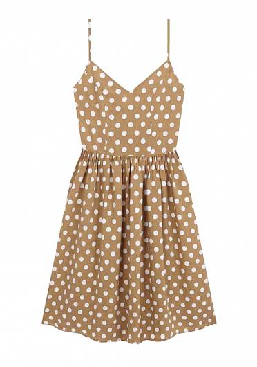 COMPANIA FANTASTICA - BEIGE MIDI DRESS WITH WHITE POLKA-DOT PR SP19COC03 -
