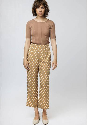 COMPANIA FANTASTICA - BEIGE TROUSERS WITH WHITE POLKA-DOT PRIN SP19COC05 -