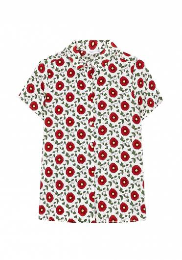 COMPANIA FANTASTICA - RED FLOWER SHIRT SP19HAN44 -