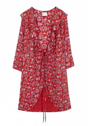 COMPANIA FANTASTICA - RED FLORAL WRAP DRESS SP19SAM42 -