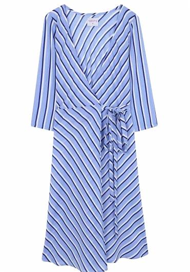 COMPANIA FANTASTICA - BLUE STRIPED CROSS DRESS SP19SHE13 -