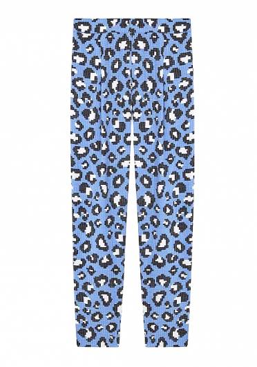 COMPANIA FANTASTICA - BLUE TROUSERS IN LEOPARD PRINT SP19SHE46 -