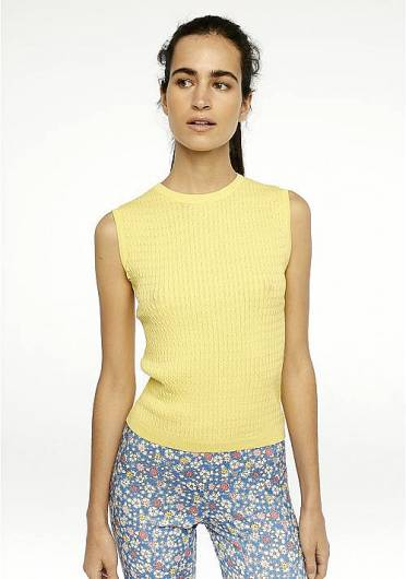 COMPANIA FANTASTICA - YELLOW KNITTED TANK TOP SP20CHE02 -