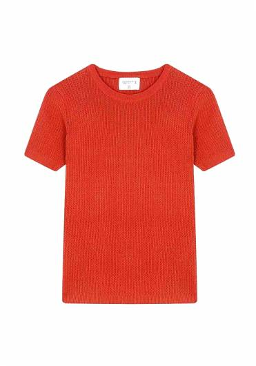 COMPANIA FANTASTICA - ORANGE OPEN-STITCH T-SHIRT SS19CHE05 -