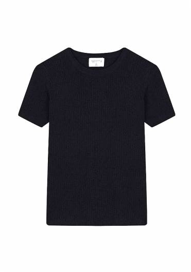 COMPANIA FANTASTICA - BLACK OPEN-STITCH T-SHIRT SS19CHE08 -