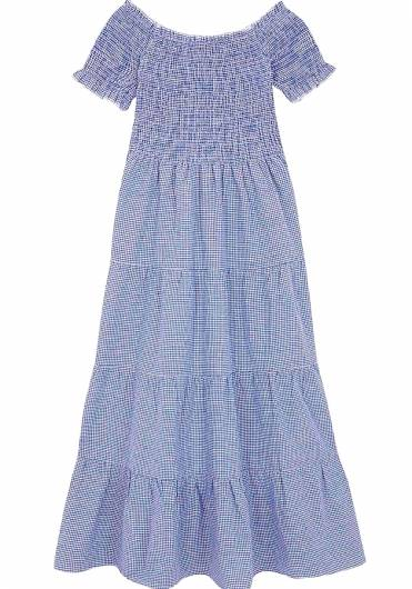 COMPANIA FANTASTICA - BLUE GINGHAM MIDI DRESS SS19HAN50 -