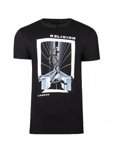 Religion - TRON T-SHIRT BLACK & WHITE 38ETRG69 -