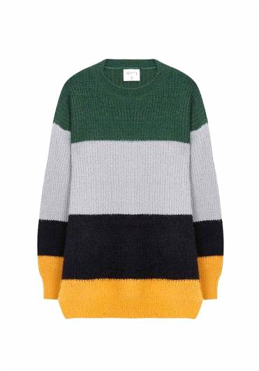 Compania fantastica - GREEN AND YELLOW KNITTED JUMPER WI18CHU21 -