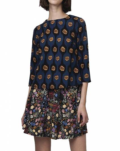 Compania fantastica - BLUE TOP IN YELLOW AND BLACK PRINT WI18HAN51 -