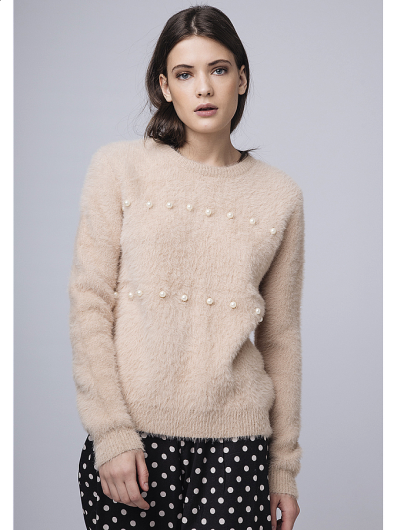 Compania fantastica - BEIGE FLUFFY KNIT JUMPER WITH PEARL EMBE WI18YIS20  -
