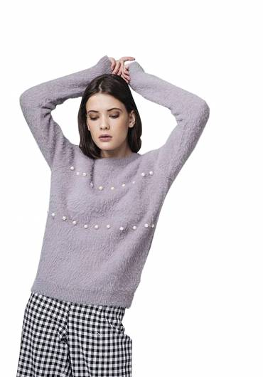 Compania fantastica - GREY FLUFFY KNIT JUMPER WITH PEARL EMBEL WI18YIS21 -
