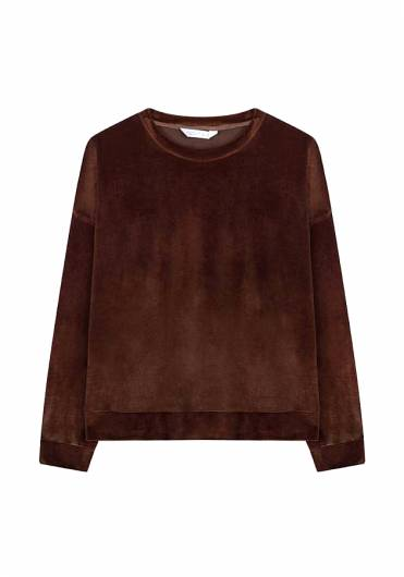 COMPANIA FANTASTICA - BROWN VELVET OVERSIZED SWEATER WI19HAN92 -