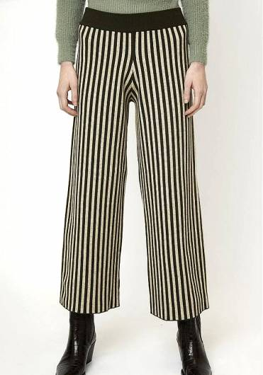 COMPANIA FANTASTICA - GREEN STRIPE KNITTED TROUSERS WI19SHA02 -