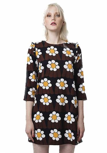 Compania fantastica - BROWN DAISY PRINT MINI DRESS FA18HAN60 -