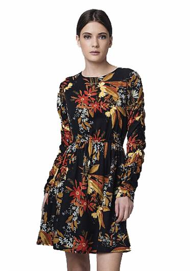 Compania fantastica - FLORAL PRINT BLACK DRESS FA18SAM01 -